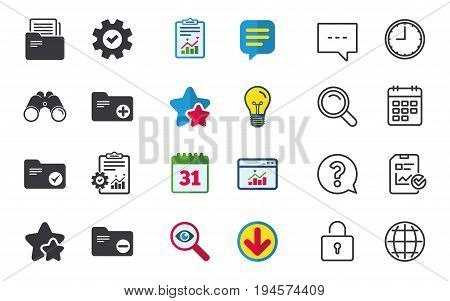 Accounting binders icons. Add or remove document folder symbol. Bookkeeping management with checkbox. Chat, Report and Calendar signs. Stars, Statistics and Download icons. Question, Clock and Globe