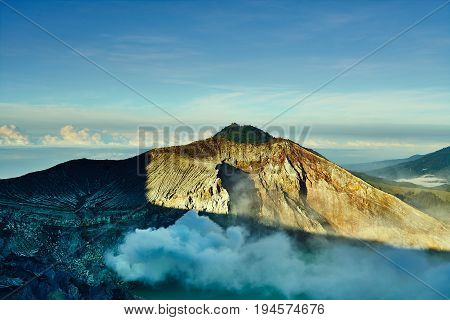Great Landscape Nature Mountain With Smoke Sulfur In Kawah Ijen Volcano Indonesia