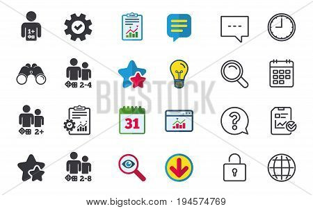 Gamer icons. Board games players sign symbols. Chat, Report and Calendar signs. Stars, Statistics and Download icons. Question, Clock and Globe. Vector