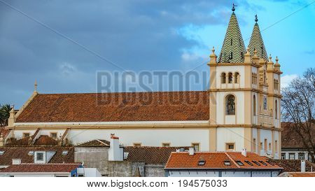 Long shot view of church in Angra do Heroismo with sky in the background, Island of Terceira in Azores, Portugal