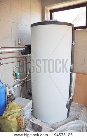 Hot Water Heating Boiler Installation. Condensing Boiler Accumulator Tank.