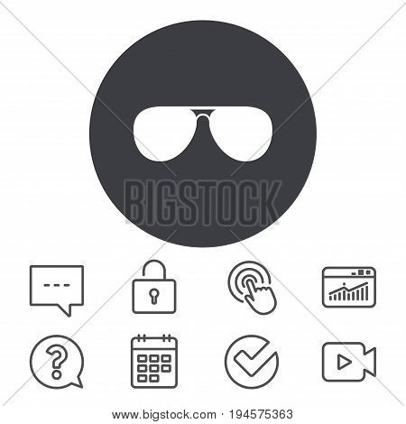 Aviator sunglasses sign icon. Pilot glasses button. Calendar, Locker and Speech bubble line signs. Video camera, Statistics and Question icons. Vector