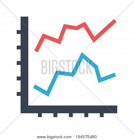 Line Diagram Flat Vector Icon. Flat icon isolated on the white background. Editable EPS file. Vector illustration.