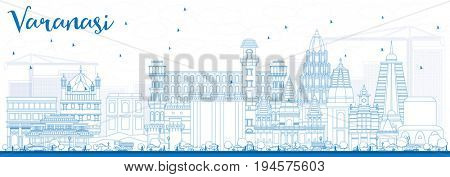 Outline Varanasi Skyline with Blue Buildings. Business Travel and Tourism Concept with Historic Architecture. Image for Presentation Banner Placard and Web Site.