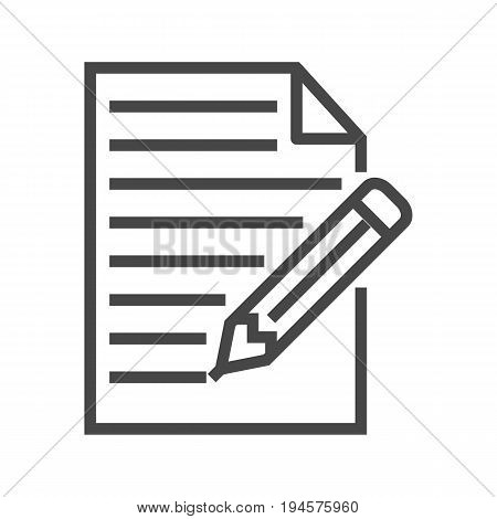 Pictogram of Note Thin Line Vector Icon. Flat icon isolated on the white background. Editable EPS file. Vector illustration.