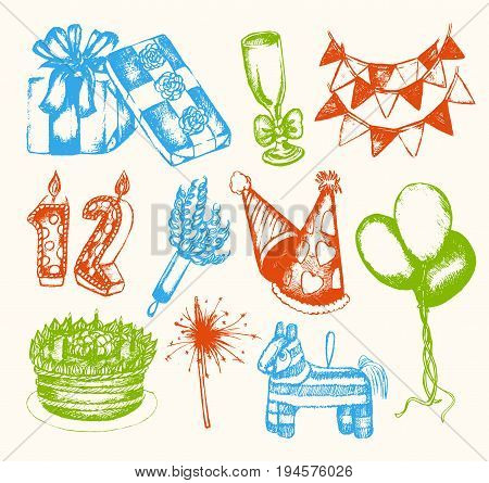 Happy Birthday - color vector hand drawn vintage composition. Realistic gift, cap, flag, cake, balloon, wheel, candle number, Bengal light, pop gun, pinyata. Celebrate the best party, annual event.