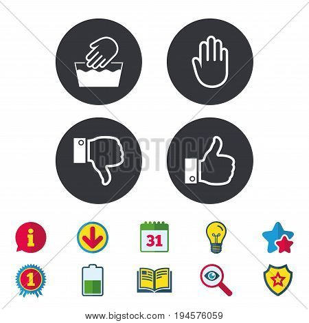 Hand icons. Like and dislike thumb up symbols. Not machine washable sign. Stop no entry. Calendar, Information and Download signs. Stars, Award and Book icons. Light bulb, Shield and Search. Vector