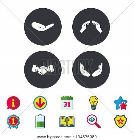 Hand icons. Handshake successful business symbol. Insurance protection sign. Human helping donation hand. Prayer meditation hands. Calendar, Information and Download signs. Stars, Award and Book icons