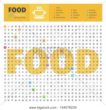 Great Big Thematic Bundle of 600 Food line icons suitable for web, infographics and apps. Complete collection. Clipping paths included.
