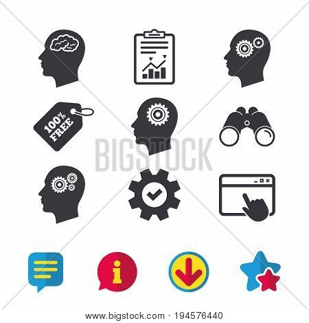 Head with brain icon. Male human think symbols. Cogwheel gears signs. Browser window, Report and Service signs. Binoculars, Information and Download icons. Stars and Chat. Vector