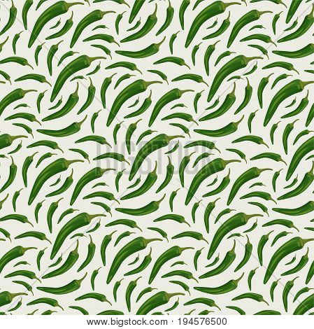 Seamless pattern with green chili on a light background
