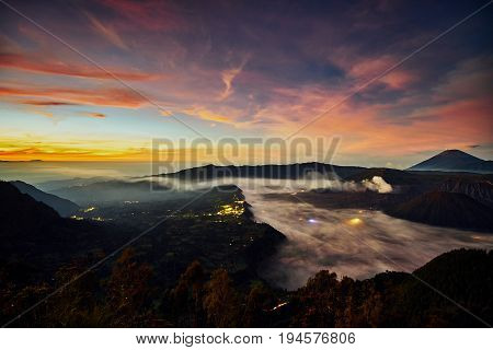 Scenic Landscape Of Sunrise At Cemoro Lawang And Bromo Tengger Semeru National Park, East Java, Indo