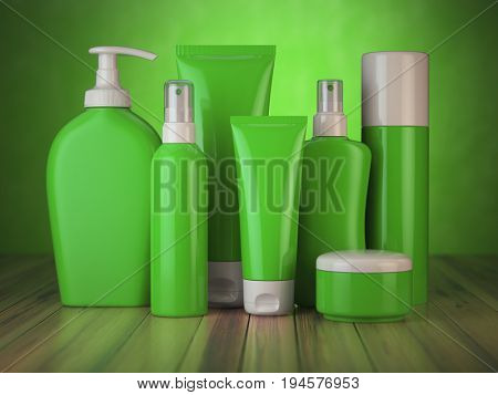 Set of green cosmetic products.  Cosmetic series of different daily beauty care products isolated on white background. Containers for cream, ointment, lotion and soap. 3d illustration