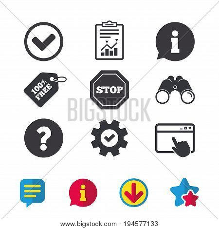 Information icons. Stop prohibition and question FAQ mark signs. Approved check mark symbol. Browser window, Report and Service signs. Binoculars, Information and Download icons. Stars and Chat