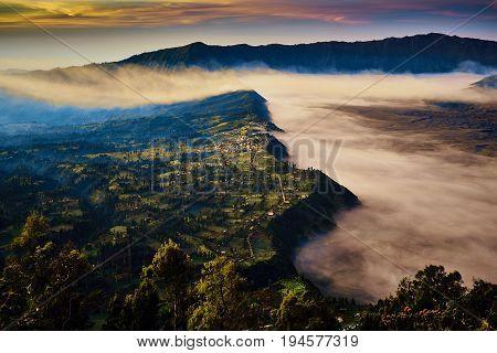 Gorgeous Landscape View Of Cemoro Lawang During Sunrise In Bromo Tengger Semeru National Park, Indon