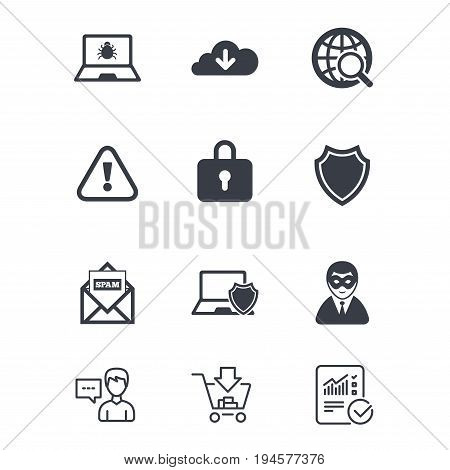 Internet privacy icons. Cyber crime signs. Virus, spam e-mail and anonymous user symbols. Customer service, Shopping cart and Report line signs. Online shopping and Statistics. Vector