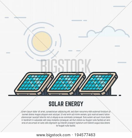 Solar panels concept. Sun and clouds. Modern line style vector illustration with text.