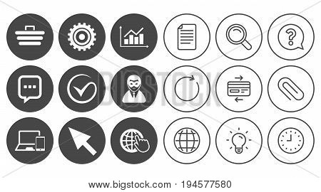 Internet, seo icons. Tick, online shopping and chart signs. Anonymous user, mobile devices and chat symbols. Document, Globe and Clock line signs. Lamp, Magnifier and Paper clip icons. Vector