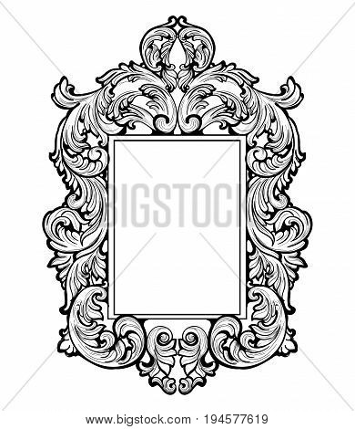 Imperial Baroque Mirror frame. Vector French Luxury rich intricate ornaments. Victorian Royal Style decors