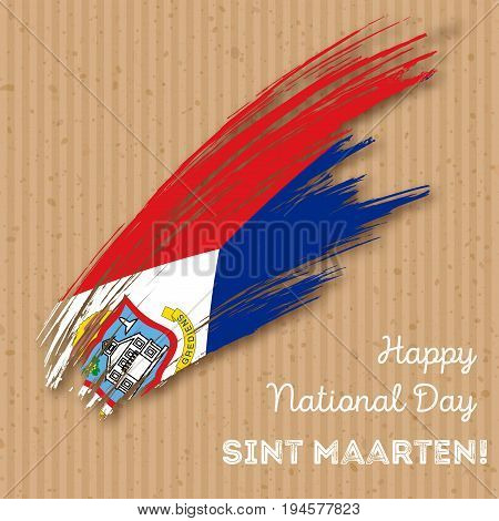 Sint Maarten Independence Day Patriotic Design. Expressive Brush Stroke In National Flag Colors On K