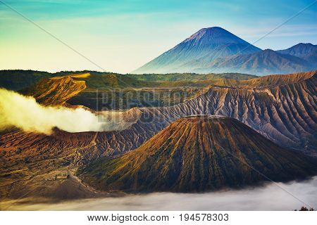 Beautiful View Of Mount Batok From Bromo Tengger Semeru National Park During Sunrise, Indonesia