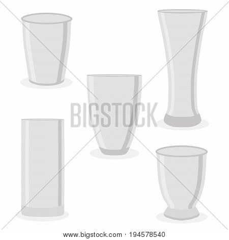Abstract vector icon illustration of logo for ceramic teacup, isolated cup.