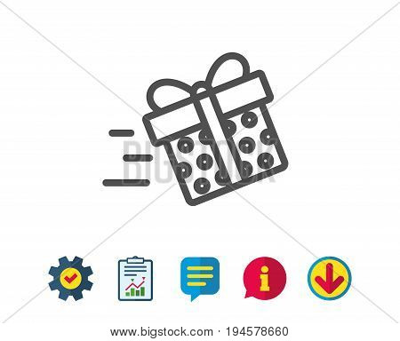 Gift box Delivery line icon. Present or Sale sign. Birthday Shopping symbol. Package in Gift Wrap. Report, Service and Information line signs. Download, Speech bubble icons. Editable stroke. Vector