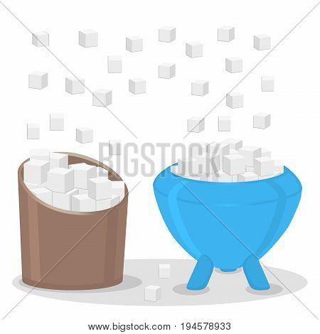 Abstract vector illustration of logo for theme sweet crystal sugar in two bowls.