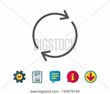 Refresh line icon. Rotation arrow sign. Reset or Reload symbol. Report, Service and Information line signs. Download, Speech bubble icons. Editable stroke. Vector