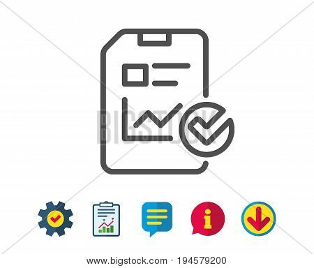 Report document line icon. Analysis Chart or Sales growth report sign. Statistics data or Checklist symbol. Report, Service and Information line signs. Download, Speech bubble icons. Editable stroke
