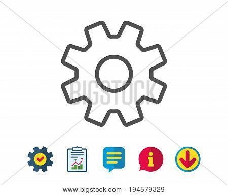 Cogwheel line icon. Service sign. Transmission Rotation Mechanism symbol. Report, Service and Information line signs. Download, Speech bubble icons. Editable stroke. Vector