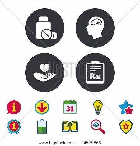 Medicine icons. Medical tablets bottle, head with brain, prescription Rx signs. Pharmacy or medicine symbol. Hand holds heart. Calendar, Information and Download signs. Stars, Award and Book icons