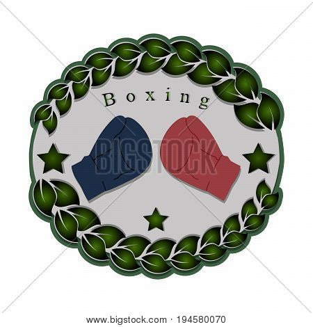 Abstract vector illustration logo sports game boxing, glove ringside for fights boxer on background.