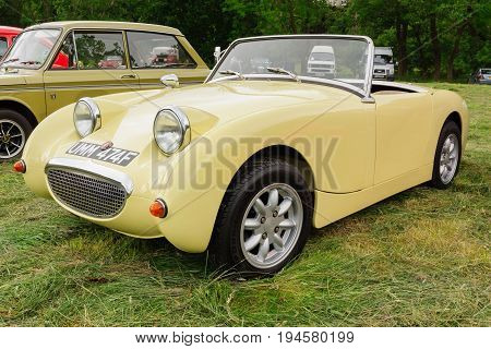 Llangollen Wales UK - July 1 2017: Austin Healey Sprite Mark 1 a classic British sports car built from 1958 to 1971 nicknamed the frogeye or bugeye at a vintage vehicle rally