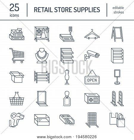 Retail store supplies line icons. Trade shop equipment signs. Commercial objects - cash register, basket, scales, shopping cart, shelving, display cases. Thin linear signs for warehouse store.