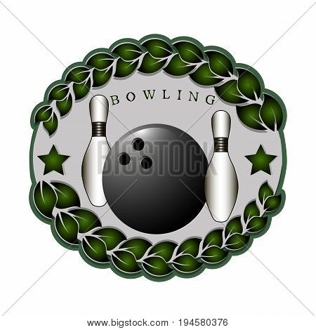Abstract vector illustration logo strike bowling, flying ball on white background.
