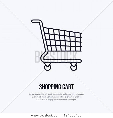 Shopping cart vector flat line icons. Retail store supplies, trade shop, supermarket equipment sign. Commercial trolley object thin linear sign for warehouse store.