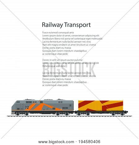 Brochure Locomotive with Orange Cargo Container on Railroad Platform Isolated on White Background and Text , Rail Freight, Poster Flyer Design, Vector Illustration