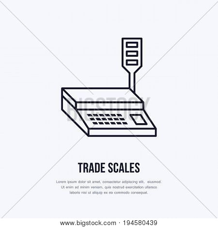 Trade scales vector flat line icons. Retail store supplies, trade shop equipment sign. Commercial object thin linear sign for warehouse store.