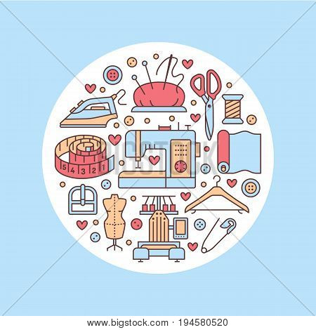 Clothing repair, alterations studio equipment banner illustration. Vector line icon tailor store services - dressmaking, clothes steaming, suit dress, garment sewing. Atelier colored circle template.