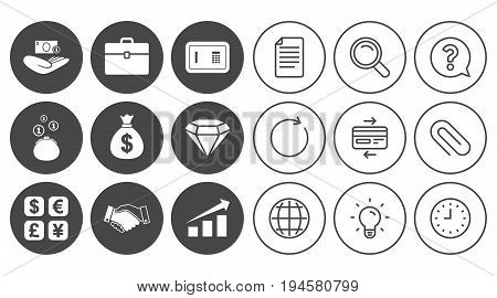 Money, cash and finance icons. Handshake, safe and currency exchange signs. Chart, case and jewelry symbols. Document, Globe and Clock line signs. Lamp, Magnifier and Paper clip icons. Vector