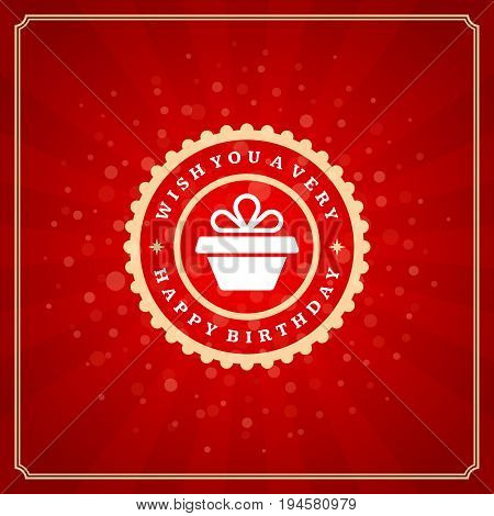 Happy Birthday typographic for greeting card design vector illustration. Vintage birthday badge or label with wish message on red background. Eps 10.