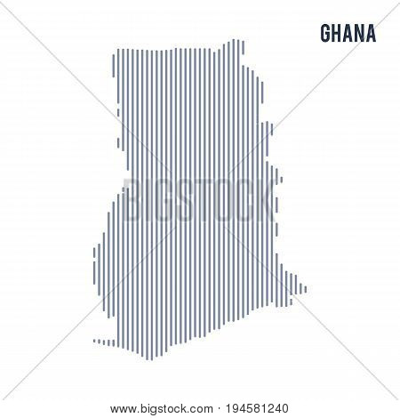 Vector Abstract Hatched Map Of Ghana With Vertical Lines Isolated On A White Background.