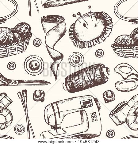 Sewing Accessories - black and white vector hand drawn seamless pattern. Realistic thread spool, holder, sewing machine, silk band, knitting needle, tape-line, tambour, basket of wool, scissors, button