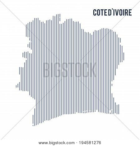Vector Abstract Hatched Map Of Cote D'ivoire With Vertical Lines Isolated On A White Background.