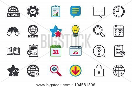 News icons. World globe symbols. Open book sign. Education literature. Chat, Report and Calendar signs. Stars, Statistics and Download icons. Question, Clock and Globe. Vector