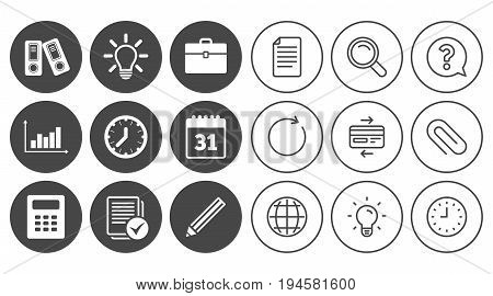 Office, documents and business icons. Accounting, calculator and case signs. Ideas, calendar and statistics symbols. Document, Globe and Clock line signs. Lamp, Magnifier and Paper clip icons. Vector