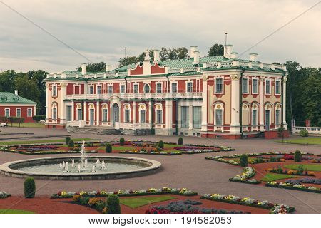 TALLINN ESTONIA- SEPTEMBER 7 2015: Kadriorg Palace at Kadriorg Park in Tallinn Estonia. Toning