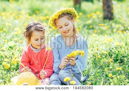 Two beautiful sisters weave a wreath of dandelions. Two sisters playing on the green meadow in the Park