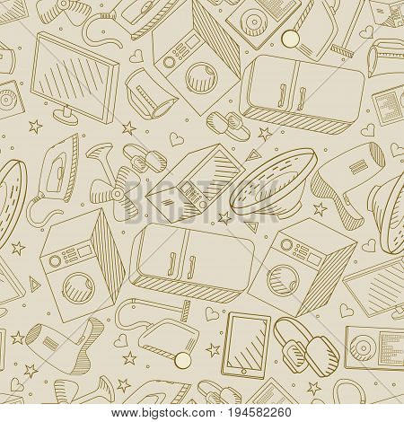 Electronics retro seamless coloring book line art design vector illustration. Separate objects. Hand drawn doodle design elements.